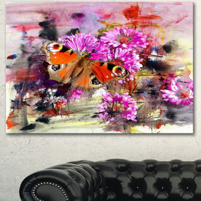 Designart Pink Flowers And Cute Butterflies FloralArt Canvas Print - 3 Panels