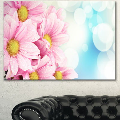 Designart Pink Flowers Bouquet On Blue Large Floral Canvas Artwork - 3 Panels