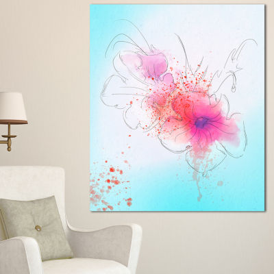 Designart Pink Flowers Illustration Watercolor Floral Canvas Art Print - 3 Panels
