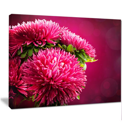Designart Pink Flowers Of Asters On Red Flowers Canvas Wall Artwork