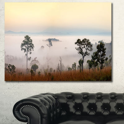 Designart Misty Morning Panorama Landscape CanvasArt Print - 3 Panels