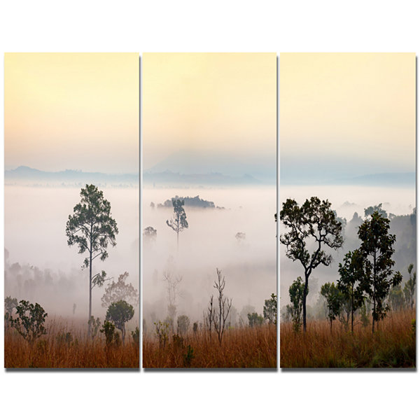 Design Art Misty Morning Panorama Landscape CanvasArt Print - 3 Panels