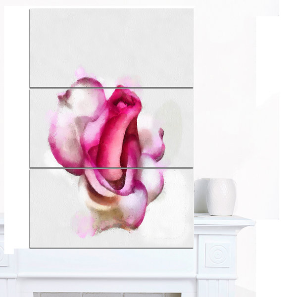 Designart Pink Hand Drawn Red Rose On White FloralCanvas Art Print - 3 Panels