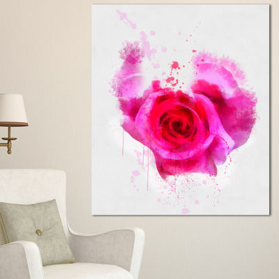 Designart Pink Hand Drawn Rose On White Floral Canvas Art Print