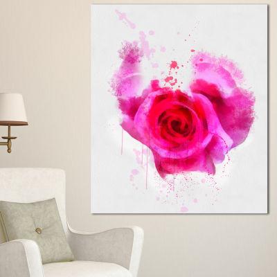 Designart Pink Hand Drawn Rose On White Floral Canvas Art Print