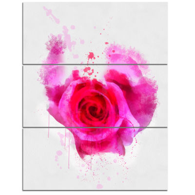 Designart Pink Hand Drawn Rose On White Floral Canvas Art Print - 3 Panels