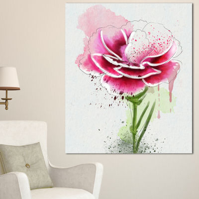 Designart Pink Hand Drawn Watercolor Flower FloralCanvas Art Print
