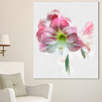 Design Art Pink Lily Flowers On White Sketch Floral Canvas Art Print