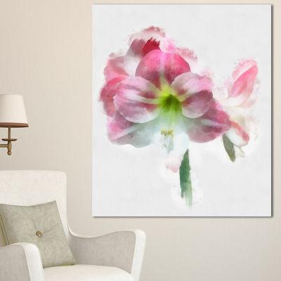 Designart Pink Lily Flowers On White Sketch FloralCanvas Art Print