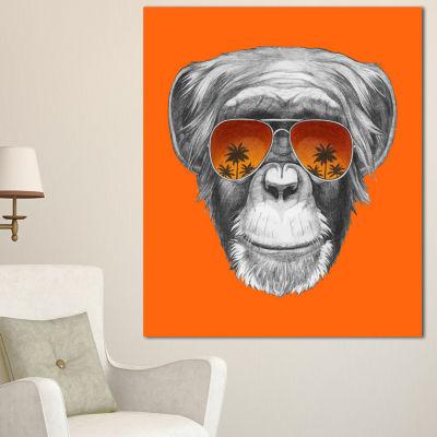 Design Art Monkey With Mirror Sunglasses Animal Canvas Art Print - 3 Panels