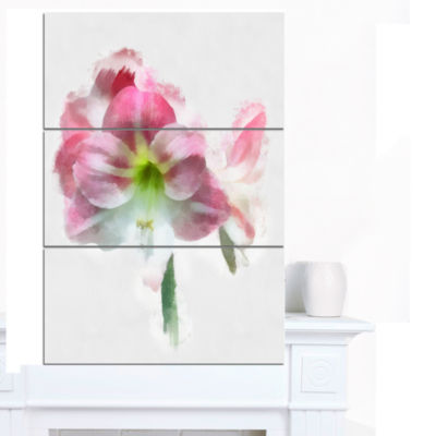 Designart Pink Lily Flowers On White Sketch FloralCanvas Art Print - 3 Panels