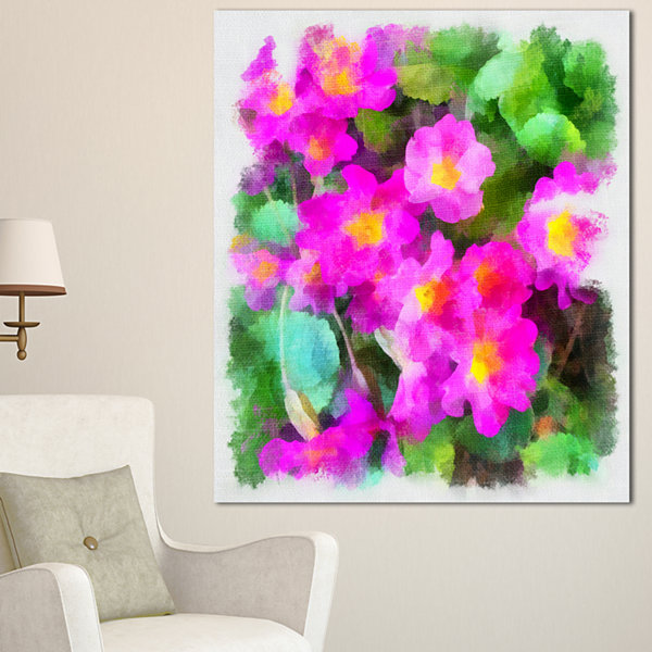 Designart Pink Little Flowers With Green Leaves Large Floral Canvas Artwork