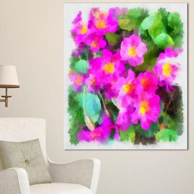Designart Pink Little Flowers With Green Leaves Large Floral Canvas Artwork - 3 Panels
