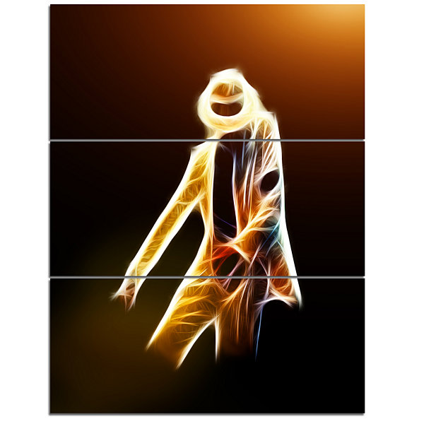 Design Art Moonwalker In Dance Style Modern Portrait Canvas Art - 3 Panels
