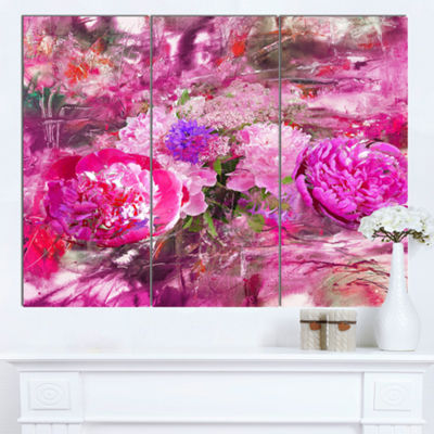 Designart Pink Peonies Abstract Background FloralArt Canvas Print - 3 Panels