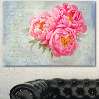 Designart Pink Peony Flowers In White Vase FloralCanvas Art Print - 3 Panels