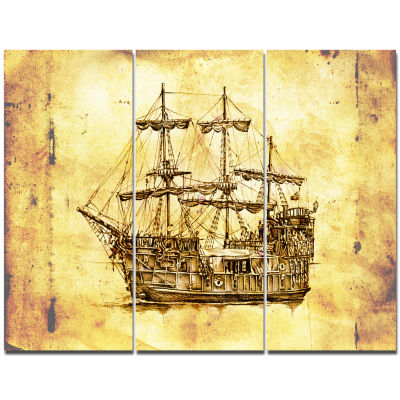 Designart Old Travelling Boat Drawing Seashore Wall Art On Canvas - 3 Panels