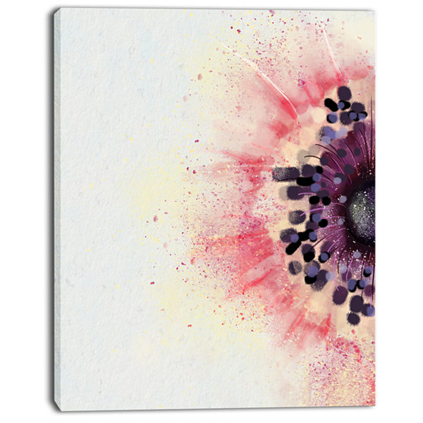 Designart Pink Purple Abstract Flower Sketch Floral Canvas Art Print