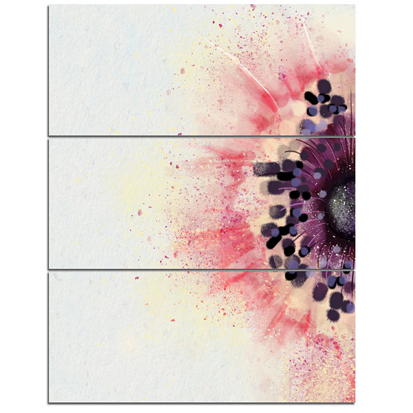 Designart Pink Purple Abstract Flower Sketch Floral Canvas Art Print - 3 Panels
