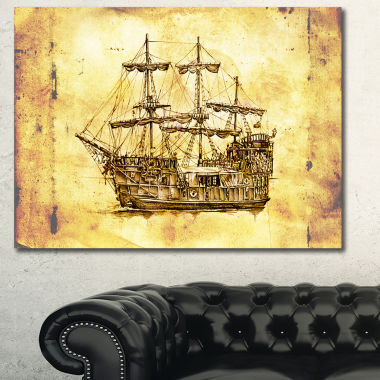 Designart Old Travelling Boat Drawing Seashore Wall Art On Canvas