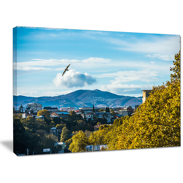 Design Art Old Town And Hills In Tbilisi LandscapeCanvas Art Print