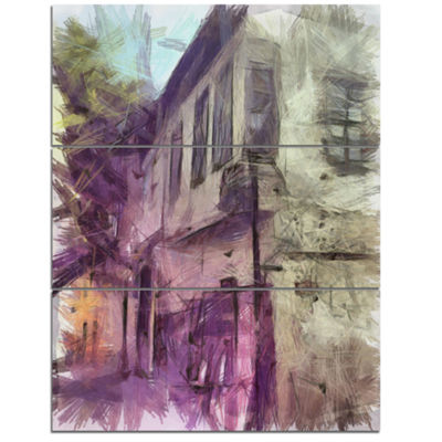 Designart Old City Street Watercolor Sketch LargeCityscape Canvas Art Print - 3 Panels