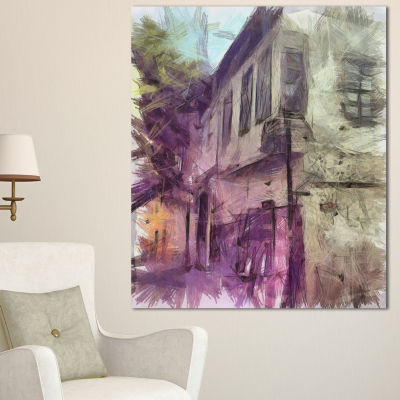 Designart Old City Street Watercolor Sketch LargeCityscape Canvas Art Print