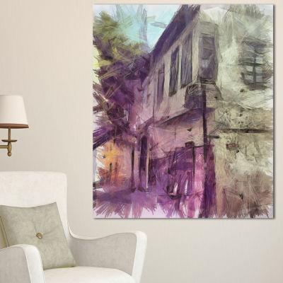 Designart Old City Street Watercolor Sketch LargeCityscape Canvas Art Print