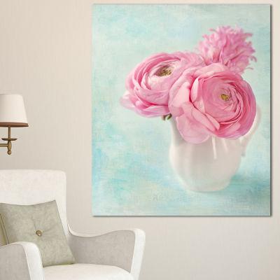 Design Art Pink Ranunculus Flowers In Vase FloralCanvas Art Print - 3 Panels