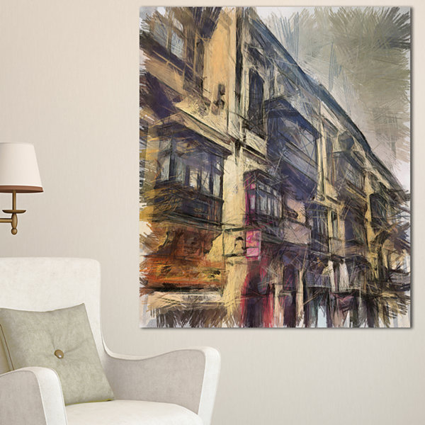 Designart Old City Street Watercolor Painting Large Cityscape Canvas Art Print - 3 Panels