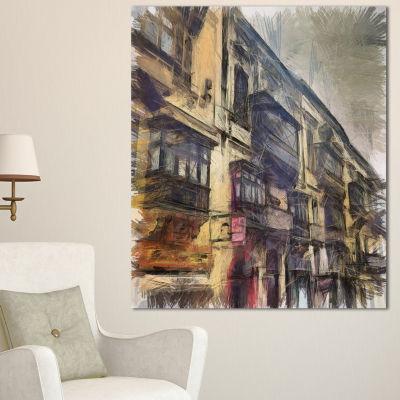 Designart Old City Street Watercolor Painting Large Cityscape Canvas Art Print