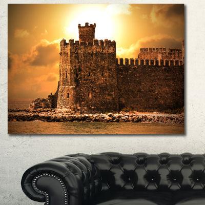 Designart Old Castle At Sunset Landscape Canvas Art Print - 3 Panels