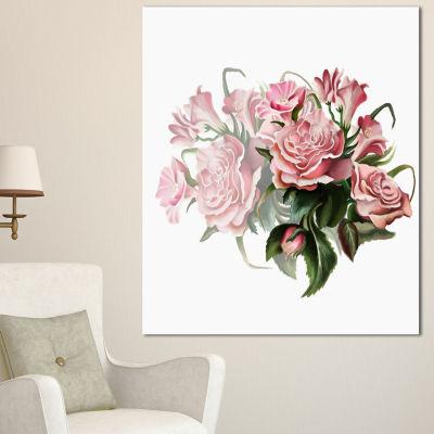 Designart Pink Rose Bouquet Watercolor Floral Canvas Art Print - 3 Panels