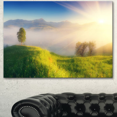 Designart Morning Mist Over Mountain Village ExtraLarge Landscape Canvas Art Print