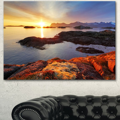 Designart Ocean Coast Nice Sunset In Norway LargeSeashore Canvas Art Print - 3 Panels