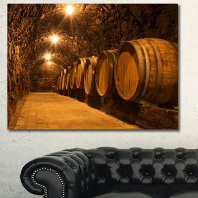 Designart Oak Barrels In The Tunnel Landscape Canvas Art Print - 3 Panels
