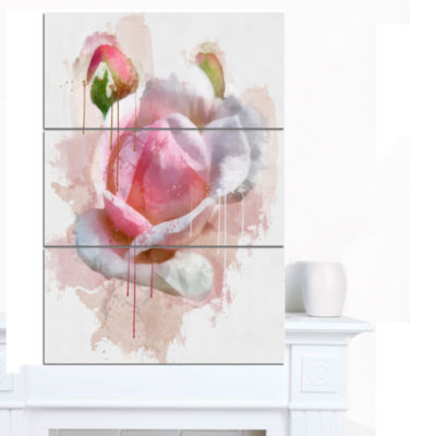 Designart Pink Rose Flower With Paint Splashes Large Floral Canvas Artwork - 3 Panels