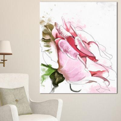 Design Art Pink Rose Illustration On White FloralCanvas Art Print