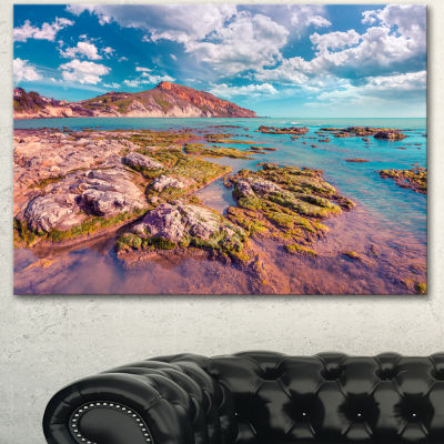 Designart Morning On The Giallonardo Beach Seashore Canvas Art Print - 3 Panels
