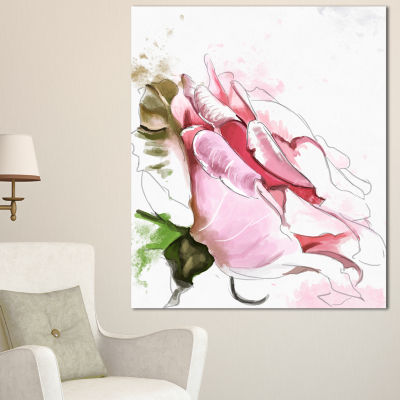 Designart Pink Rose Illustration On White FloralCanvas Art Print - 3 Panels