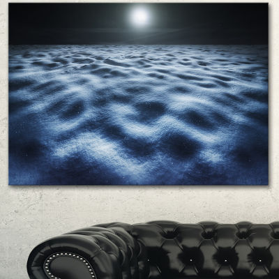 Designart Night With Fool Moon In Sky Large Landscape Canvas Art - 3 Panels