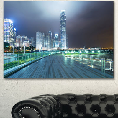 Designart Night Pathway In Modern City Large Cityscape Art Print On Canvas - 3 Panels