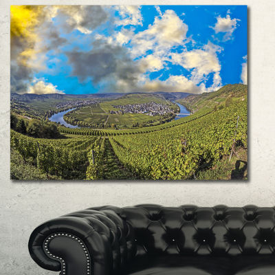 Designart Moselle River Loop In Trittenheim Landscape Canvas Art Print - 3 Panels