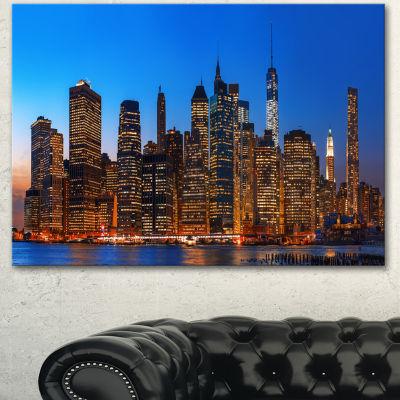 Design Art Night New York City Panorama Extra LargeCanvas Art Print - 3 Panels