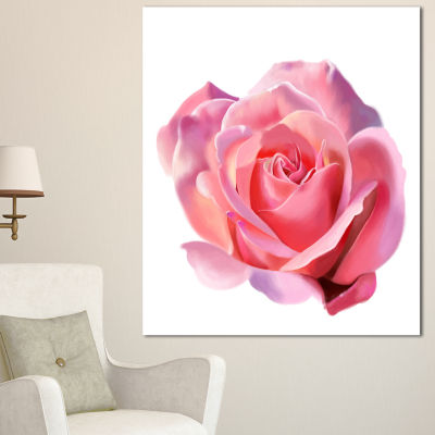 Design Art Pink Rose Sketch On White Background Flowers Canvas Wall Artwork - 3 Panels