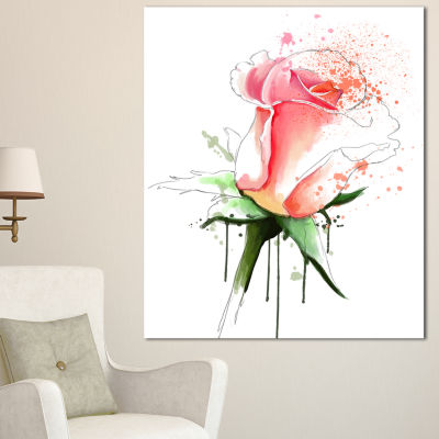 Designart Pink Rose Sketch With Green Calyx FloralCanvas Art Print
