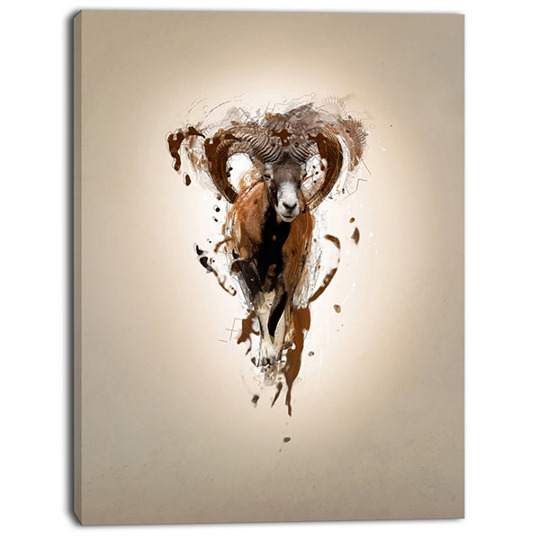 Design Art Mouflon Abstract Walking Animal CanvasWall Art