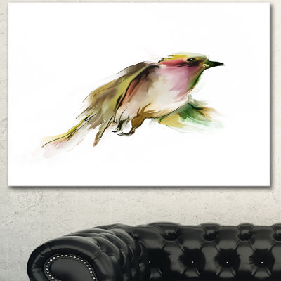 Designart Nice Flight Of Wild Bird On White AnimalCanvas Art Print