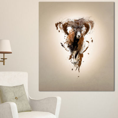 Designart Mouflon Abstract Walking Animal Canvas Wall Art