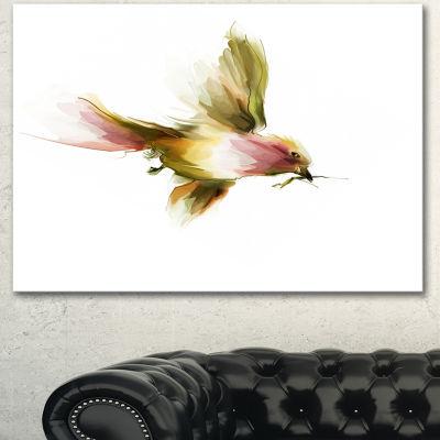 Designart Nice Flight Of Lovely Green Bird AnimalCanvas Art Print - 3 Panels